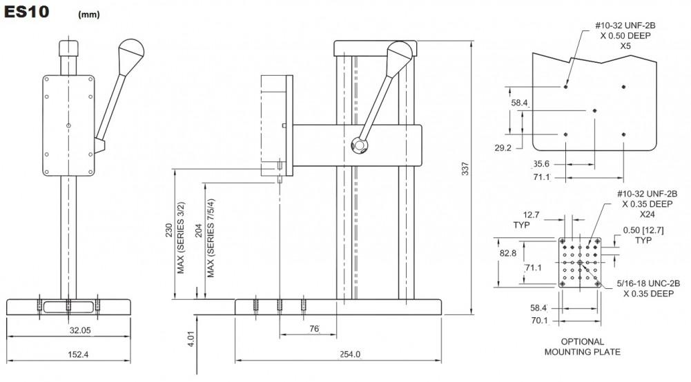 Dimensions Bancs d'essai de force mécanique ES10