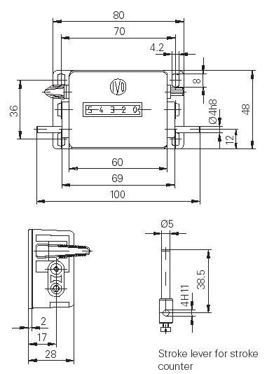Dimensions Compteurs de coup  H310