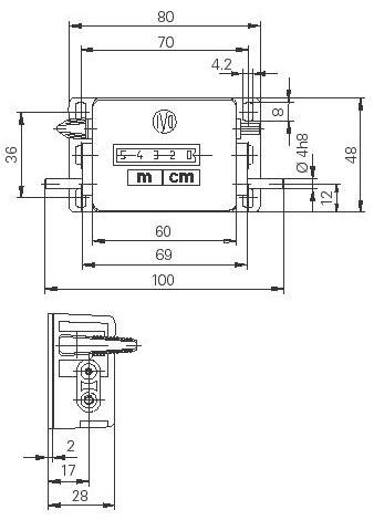 Dimensions Compte-mètre M310a