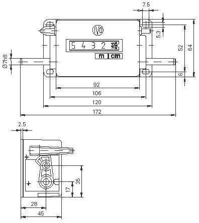 Dimensions Compte-mètre M410a