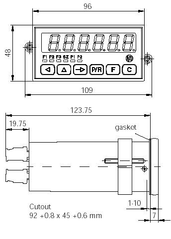 Dimensions Tachymètres électroniques TA202