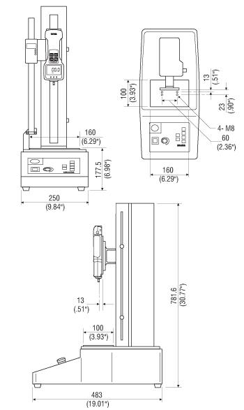 Dimensions Bancs d'essai de force motorisé MX-500