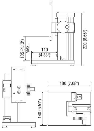Dimensions Bancs d'essai de force mécanique KV-11