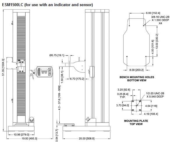 Dimensions Bancs d'essai de force motorisé ESM1500