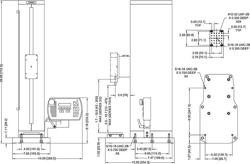 Dimensions Bancs d'essai de force motorisé ESM303